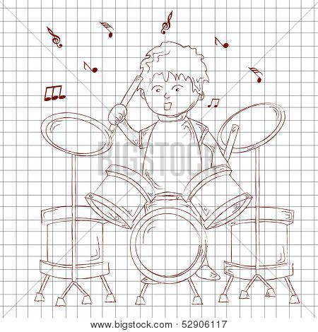 Musical background with sketch of a little boy playing drums on paper.