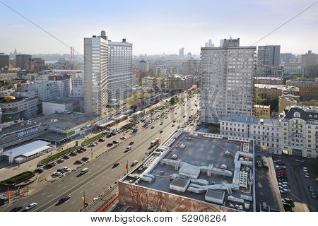MOSCOW - MAY 10: Road at New Arbat Street, on May 10, 2013 in Moscow, Russia. Length of street is 1.5 km.