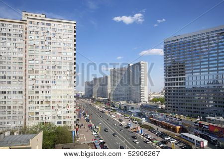 MOSCOW - MAY 10: Buildings at New Arbat Street, on May 10, 2013 in Moscow, Russia. Highway, called the New Arbat, was built in 1963.