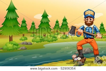Illustration of a woodman near the river