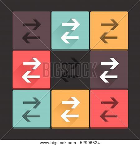 Flat long shadow and stamp colored arrow buttons