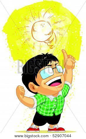 Kid Having A Shining Light Bulb Idea