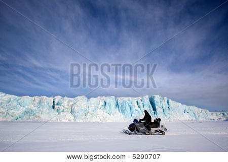 Glacier With Snowmobile