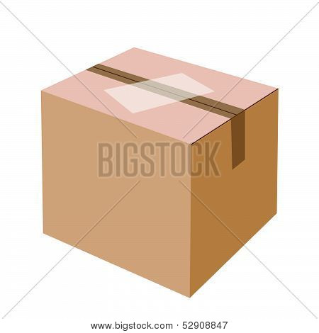 White Label On Blank Brown Cardboard Box