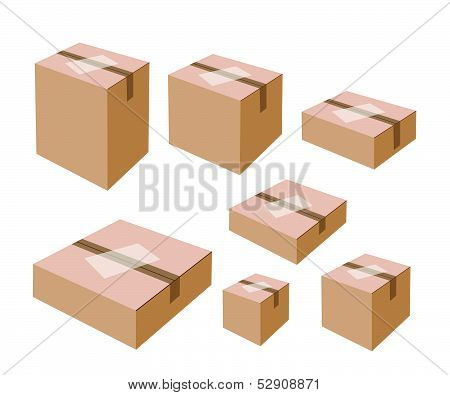 White Labels On Blank Brown Cardboard Boxes