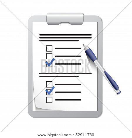 Prancheta com a lista de verificação e caneta