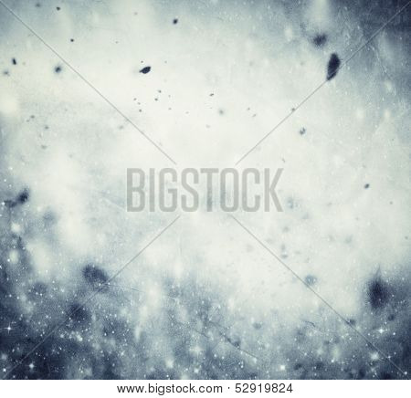 Winter, Christmas background. Snow storm, frost, glittering lights. Vintage texture.