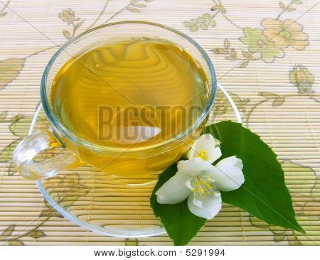 Transparent teacup with jasmin tea