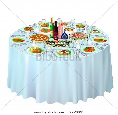 Gala Buffet Served On White