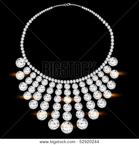 Woman's Necklace With Precious Stones On Black