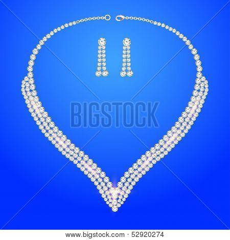 Necklace Women's Wedding With Precious Stones