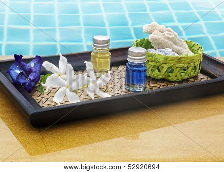 spa still life with  flowers  and  coral at pool