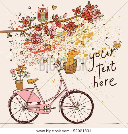 Vintage card in vector. Retro bicycle with cute dog under the branch with flowers and owl in bright colors
