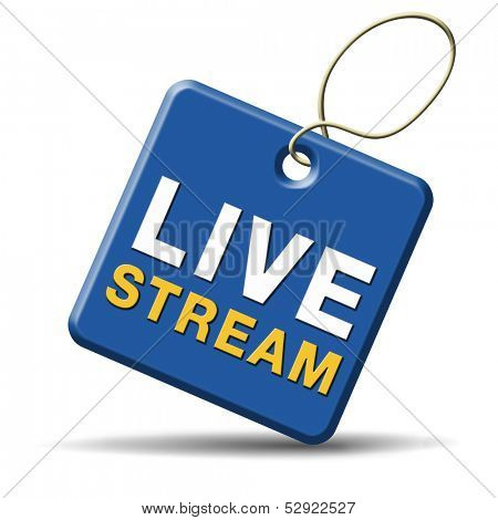 live stream tv music or video button icon or sign live on air broadcasting movie or radio program