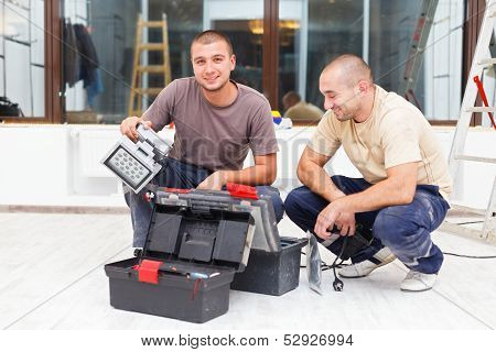 Joyful Handy Men And Their Tool Boxes