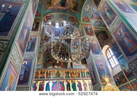 Valday, Russia - August 19: Interior Of The Assumption Cathedral In Iversky Monastery  August 19, 20