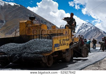 Indian People Working At Road Construction