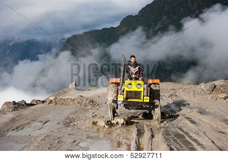 Indian Man Working At Road Construction