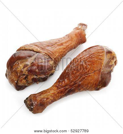 Smoked Turkey  Legs  On White Background