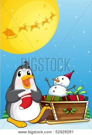 Illustration of a penguin near the sleigh with a snowman