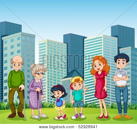Illustration of a family with the grandparents in front of the building