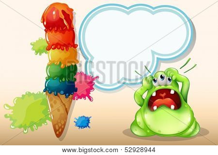 Illustration of a monster with a headache standing near the giant icecream