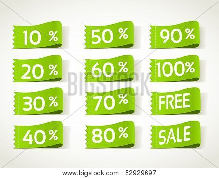 Green arrival label sale percents
