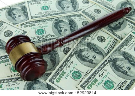 Gavel and money close-up