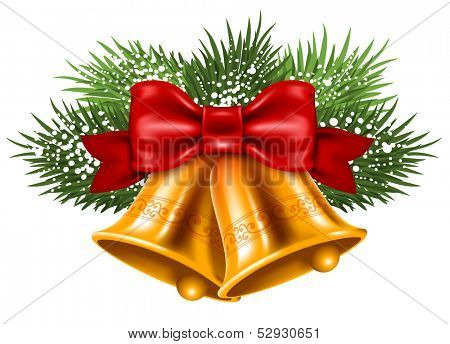 Christmas bells with red ribbon and fir branches