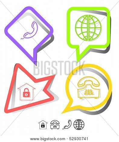 Business icon set. Globe, handset, push-button telephone, bank.  Paper stickers. Vector illustration.