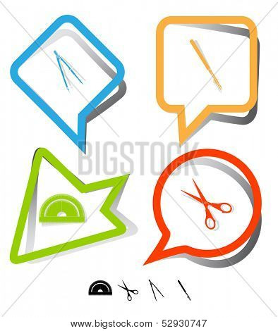 Education icon set. Scissors, ruling pen, protractor, caliper. Paper stickers. Vector illustration.