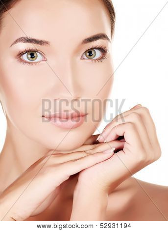 Beautiful girl with clean fresh skin, white background, copyspace