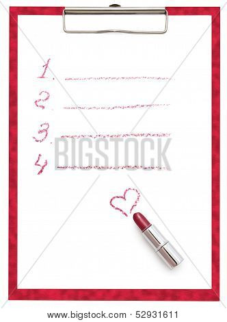 The Tablet With A Sheet Of Paper And Lipstick.