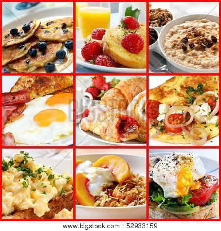 Collage of breakfast images.  Includes pancakes, french toast, oatmeal, bacon and eggs, continental, omelet, muesli, and poached egg.