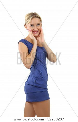 Blonde Woman, 34 Years Old, In A Short Blue Dress.