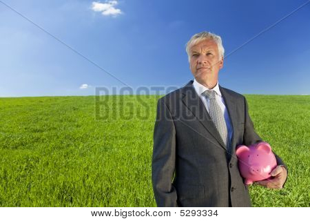 Senior Man Thinking About Investment
