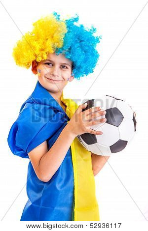 Football Fan With  Ukrainian Flag And A Ball On A White Background