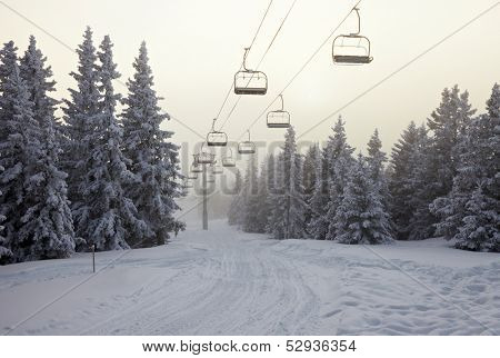 Ski Lift in the mountains
