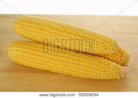 Corn Cobs On A Plank