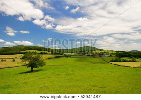 Wide landscape at countryside in French Bourgogne