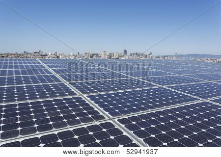 Solar panel on top of apartment building