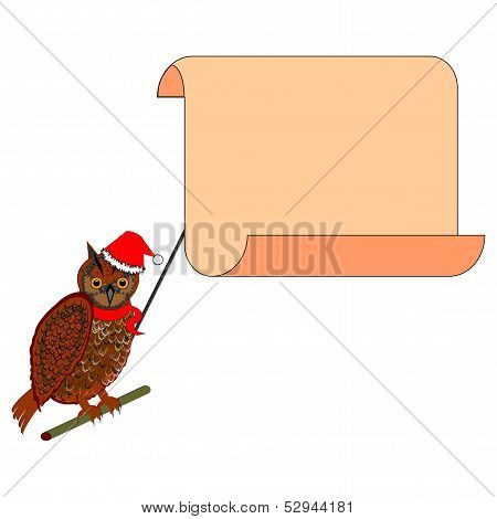 A Christmas Owl With A Big Blank Paper In His Beak