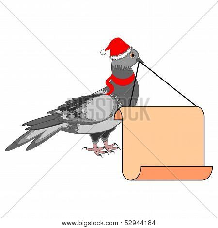A Christmas Dove With A Big Blank Paper In His Beak