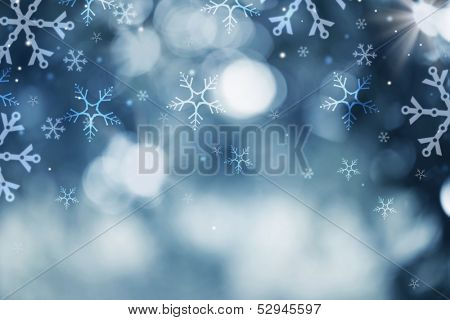 Winter Holiday Snow Background. Christmas Abstract Defocused Backdrop with Snowflakes. Bokeh