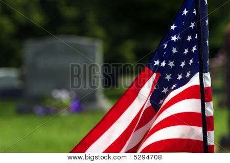American Flag In Cemetery