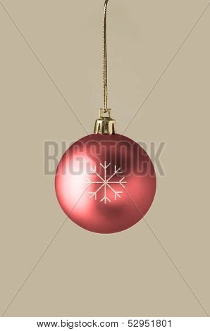 Red Bauble With Glittery Snowflake