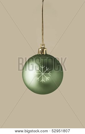 Green Christmas Bauble With Glittery Snowflake