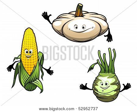 Pumpkin, corn and turnip cartoon vegetables