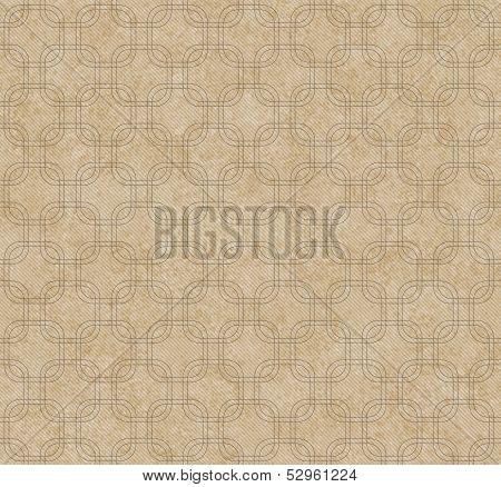 Ecru Interlaced Squares Textured Fabric Background