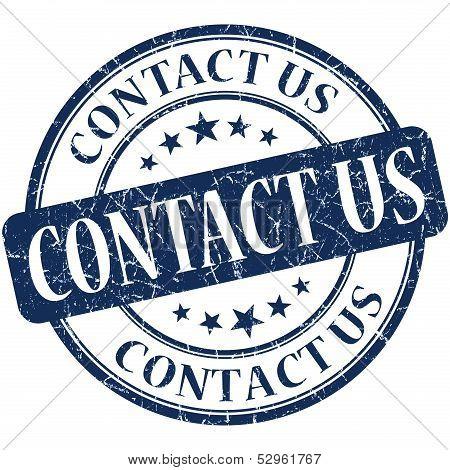 Contact Us Grunge Blue Round Stamp